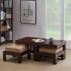 Kafano Coffee Table Set (Walnut Finish, Beige)