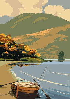 Poster - Ben Lomond    £6.00    Illustration of Ben Lomond and Loch Lomond inspired by vintage railway posters.