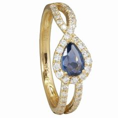 Lovely blue pear-shape Montana Yogo sapphire with a twisting diamond shank.