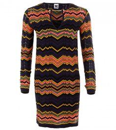 M MISSONI Blue & Yellow Multicolour Zigzag Knit Dress from WWW.PROFILEFASHION.COM