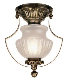 Vintage Hardware & Lighting - Vintage Style New Lighting Products, Victorian Low Ceiling Light With Frosted Shade (96-MP1-CCL)