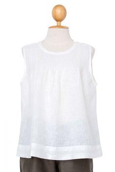 Sally Pintuck Sleeveless Linen Blouse, White