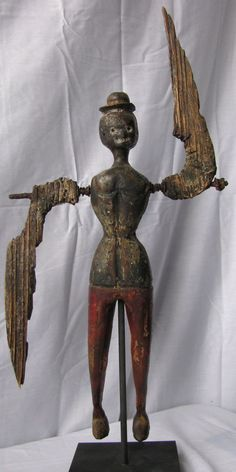 Antique Folk Art Woman Whirligig Black Americana