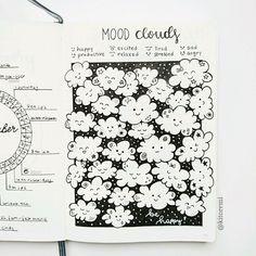 mood clouds #bulletjournal #bujo suivi de l'humeur avec des nuages qui sourient... ou non