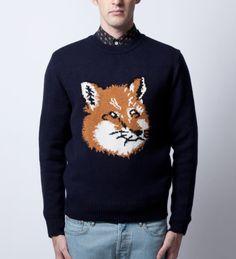 Maison Kitsune Navy Fox Head Pullover @ Hypebeast $430.00