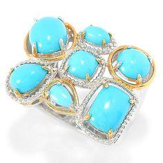 148-140- Gems en Vogue Multi Shape Sleeping Beauty Turquoise Seven-Stone Ring