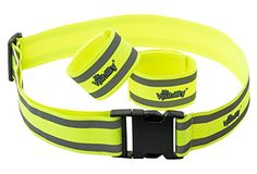 2 x Reflective Fluorescent Safety Bands Hi Vis Arm Band /& Waist Belt Adjustable
