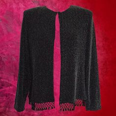 """wearing a little black dress this holiday season? here's the perfect topper - a vintage 90's jacket that adds a layer in cold temps...& just the right amount of sparkle! black fabric with metallic silver woven in, fantastic black beading at the hem, single button closure at the neck. size M. shoulder: 15 1/2""""; length: 21""""; sleeve: 22"""". #90s #90sstyle #sparkle #sparklyjacket #eveningjacket #lbd #beadedjacket #dressyjacket #holiday #vintageclothing #vintageclothingforsale #igshop..."""