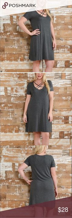SALE! HOST PICK 5/14!  2X-3X-4X (1X sold out) Charcoal gray, fun, soft and sexy a-line dress in plus sizes! Comfortable slinky, stretchy fabric will flatter your figure. MADE IN THE USA  100% Rayon, 5% Spandex. Bellino Clothing Dresses