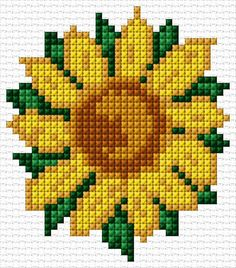 Sunflower: 37 x 42 stitches 6 colors Cross Stitch Tattoo, Mini Cross Stitch, Cross Stitch Cards, Simple Cross Stitch, Cross Stitch Rose, Cross Stitch Flowers, Counted Cross Stitch Patterns, Cross Stitch Designs, Cross Stitching