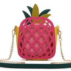Pineapple Laser Cut Mini Crossbody Bag [APPL5464 FUCHSIA]