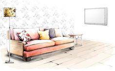 Drawing interior wallpaper photos art