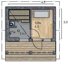LATO pihasauna - Kannustalo Building A Sauna, Saunas, Sauna Ideas, Floor Plans, Cottage, Flooring, Outdoors, Summer, Outdoor