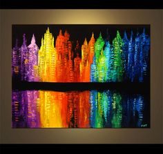 abstract paintings | Original abstract art paintings by Osnat - abstract city painting