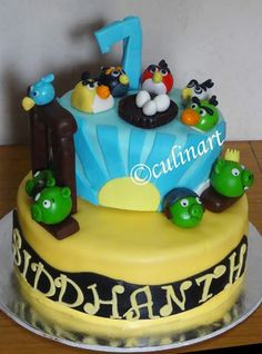 A two tiered Angry bird themed pineapple cake