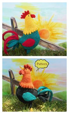 This Good Morning Rooster Knitting Pattern is a very cute and accurate rooster pattern. Make one now with the pattern provided by the link provided by the link below. Double Knitting Patterns, Animal Knitting Patterns, Stuffed Animal Patterns, Easy Knitting, Crochet Patterns, Knitting Toys, Knitted Dolls, Crochet Dolls, Chicken Pattern