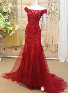 newbridalup.com SUPPLIES Sexy Trumpet/Mermaid Lace Off-The-Shoulder Floor-Length Evening Dress Prom Dresses 2015