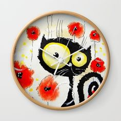 Poppies  Wall Clock by Katja Main. Worldwide shipping available at Society6.com. Just one of millions of high quality products available.