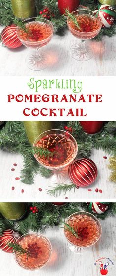 Sparkling Pomegranate Cocktail main | 2 Cookin Mamas Celebrate the holidays with this bubbly cocktail full of pomegranate juice, orange liqueur, vodka and champagne. #recipe