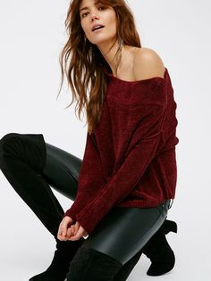 Alana Chenille Pullover | In an off-the-shoulder cropped silhouette, this super soft chenille pullover sweater has a wide body. This cozy style is an essential for cooler days.