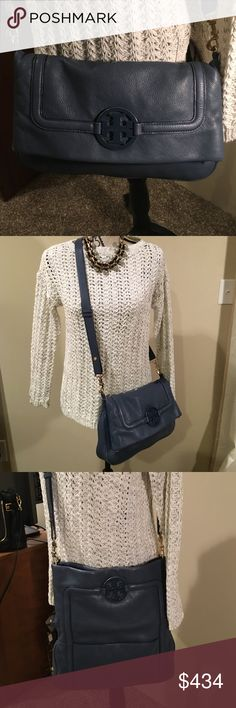 SALETORY BURCH AMANDA LOGO FOLD-OVER ,BLUE TORY BURCH , NIGHT SKY BLUE ,CONVERTIBLE ON THE GO PURSE ‼️SUPPLE LEATHER ‼️ 51139749 Color 418 . More pics in other frame . Bought at Nordstrom's .Does NOT come w dust bag or bag . Tory Burch Bags Crossbody Bags
