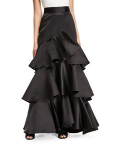 Johanna Ortiz Aragonese Tiered Satin Maxi Skirt and Matching Items Skirt Outfits Modest, Denim Skirt Outfits, Bergdorf Goodman, Lab, Satin Top, Silk Satin, Swimwear Brands, Ruffle Skirt, Pleated Skirt