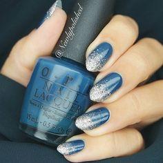 Silver and blue nail art design,winter nail art design