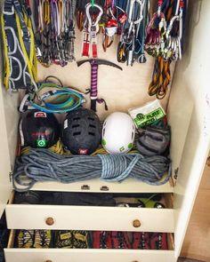 Gear closet of @ascending_rocks #climbing #rockclimbing #climbinggear #tradgear…