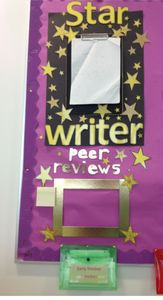 I have attached both a picture of my Star writer display I have in my classroom, and the template for you to make your own. I attached a clipboard to a lar. Year 3 Classroom Ideas, Primary Classroom Displays, Eyfs Classroom, School Displays, Classroom Organisation, Classroom Walls, Classroom Inspiration, School Classroom, Literacy Working Wall