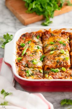 Vegetarian Black Bean Enchilada Casserole - Use gluten free corn tortillas (most of them are), omit cheese for dairy free, if you need soy free you'll have the make the enchilada sauce from scratch, because I haven't found a canned sauce that doesn't have soy in it