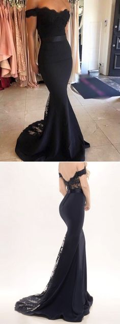 Black Lace Off-the-Shoulder Mermaid Satin Prom Dresses 2017