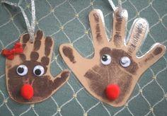 reindeer handprint ornament | Art Design and Craft