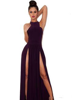 maxi split dresses   Savina' Plum Double Thigh Split Maxi Dress - Limited Edition