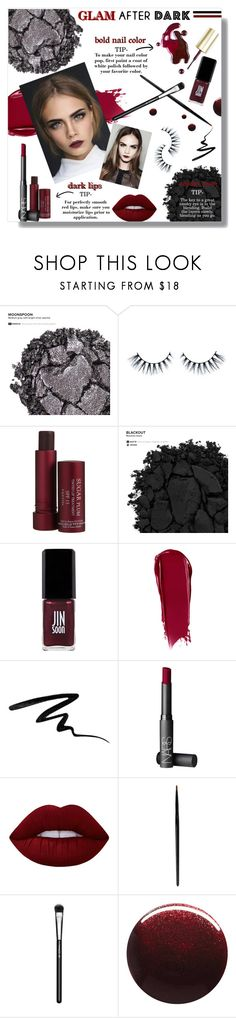"""Glam After Dark"" by jennie-bo-bennie ❤ liked on Polyvore featuring beauty, Urban Decay, Fresh, JINsoon, NARS Cosmetics, Eyeko, SkinCare, Lime Crime, Yves Saint Laurent and MAC Cosmetics"