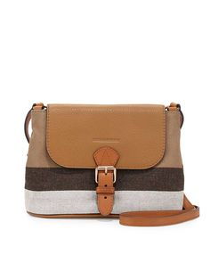 63198483bcf6 Burberry Brit Small Grainy Canvas Messenger Bag Saddle Brown