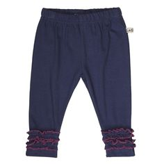 Lilly+Sid Baby Girls Ruffle Hem Leggings in Navy-Primary Colours