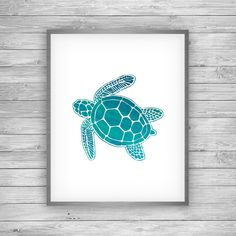 Sea Turtle Art Print Evoking vacation memories of clear Caribbean waters, this fascinating sea turtle from the Sea Life Collection shows off his colorful green, blue, and teal shell and flippers on a white background. Sea Turtle Painting, Sea Turtle Art, Sea Turtles, Sea Turtle Tattoos, Kitchen Color Themes, Bathroom Colors Blue, Bathroom Green, Bedroom Colors, Memorial Tattoos