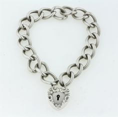 Antique-Victorian-Sterling-Silver-Link-Puffy-Heart-Lock-Charm-Bracelet-Repousse