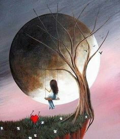 Huge moon and girl in a tree swing painting with little heart jumping, lol. Lua