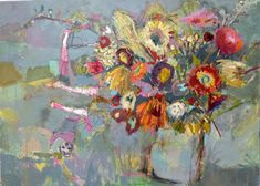 really interesting painting with abstract florals and some scribbles in the background