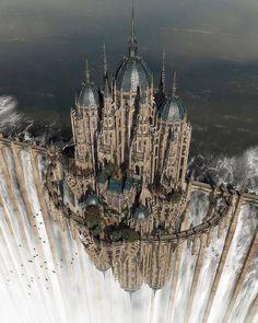 Myth & Fantasy Examples par Daneca Robinson Top of the waterfall by jfliesenborghs Fantasy City, Fantasy Castle, Fantasy Places, Fantasy Kunst, Fantasy World, Fantasy Artwork, Fantasy Posters, Fantasy Art Landscapes, Beautiful Castles