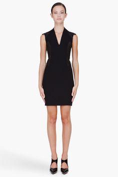 HELMUT LANG Black Leather Paneled Dress, $224