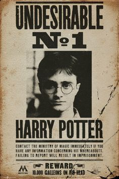 Harry Potter Undesireable No. 1 - Official Poster. Official Merchandise. Size: 61cm x 91.5cm. FREE SHIPPING                                                                                                                                                                                 More