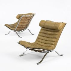 Arne Norell, Leather and Chrome-Plated Steel Lounge Chairs for Norell Möbel, 1966.