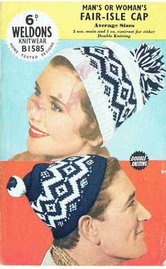 6c4bf66d3f1 Weldons 1585 fairisle caps beanie hats ladies mens by EnglishAran Knitting  Wool