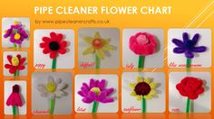 pipe cleaner flower chart. explanations and tutorials are available on the site