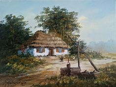 wieś w obrazach, wiejskie chaty w obrazach, obrazy olejne wiejskie chaty, obrazy olejne wieś, obrazy olejne, olejne obrazy Watercolor Landscape Paintings, Cabins And Cottages, Old Barns, City Art, Tuscany, Jaguar, Art Girl, Illustration Art, Outdoor Structures