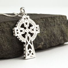 Sterling Silver Double Sided Heavy Celtic Cross, Made in Ireland Mens Celtic Cross Necklace, Irish Fashion, Trinity Knot, Irish Jewelry, Celtic Designs, Chains For Men, Unique Necklaces, Luxury Jewelry, Jewelry Crafts
