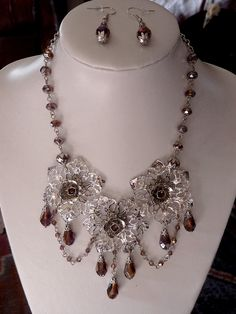Light amethyst flower necklace, handmade by The Black Cat Designs