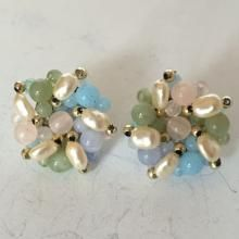 Gold plated pastel color beads and faux pearls round shape stud earrings with push backs